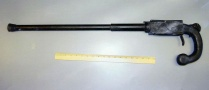 The cane gun Brian Wells used during the bank robbery. It was fashioned by hand out of wood and metal, and held one 12-gauge shotgun shell. Wells did not fire it. RICH FORSGREN/ERIE TIMES-NEWS, via FBI.