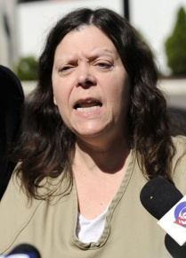 Marjorie Diehl-Armstrong during a break in her mental competency hearing in U.S. District Court in Erie, Pennsylvania, on May 22, 2008. U.S. District Judge Sean J. McLaughlin would find her mentally unfit for trial in the pizza bomber case in 2008, but find her competent in 2009. CHRISTOPHER MILLETTE/ERIE TIMES-NEWS
