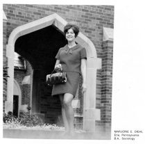 Marjorie Diehl at 20 or 21 years old, in the yearbook for the class of 1970 at Mercyhurst College in Erie, Pennsylvania. She graduated in 1970, a year early, with bachelor's degrees in sociology and biology. Two years later, at age 23, she would receive her first psychiatric treatment, with a later diagnosis of a bipolar disorder. ERIE TIMES-NEWS