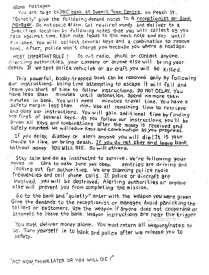 """The first page of the two-page note found in Wells' car; the note, addressed to the """"bomb hostage,"""" instructed him how to rob the bank. ERIE TIMES-NEWS, via FBI"""