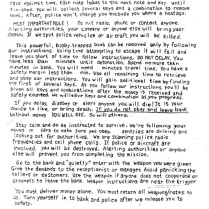 "The first page of the two-page note found in Wells' car; the note, addressed to the ""bomb hostage,"" instructed him how to rob the bank. ERIE TIMES-NEWS, via FBI"